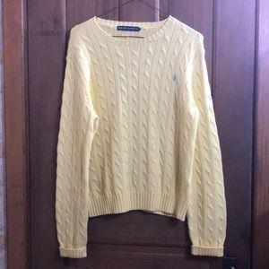 Ralph Lauren XL Women's Yellow Ribbed Sweater